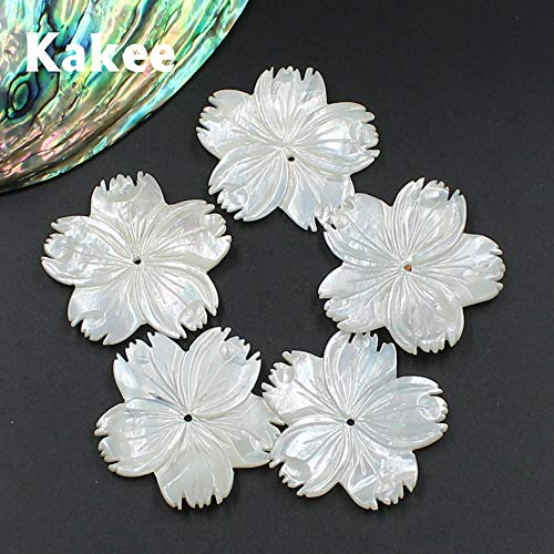 - Calvas Natural Mother of Pearl Big White Carved Flower Charms DIY Sea Shell Beads for Jewelry Making Fashion Brooches Materials