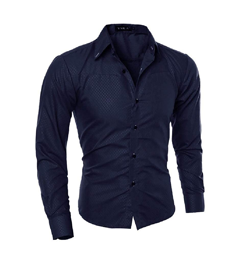 Tralounry Mens Formal Print Button Down Long Sleeve Dress Shirts Tops
