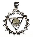 Moldavite Sterling Silver Pendant Throat Chakra Design