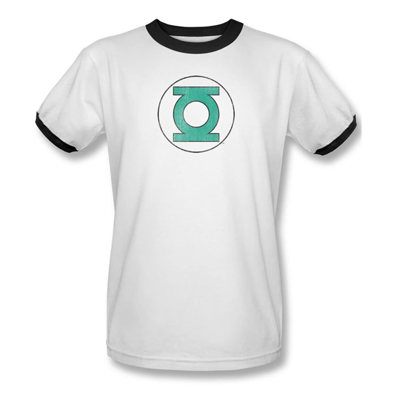 Dc Comics - Mens Green Lantern Distressed Ringer T-Shirt In White/Black