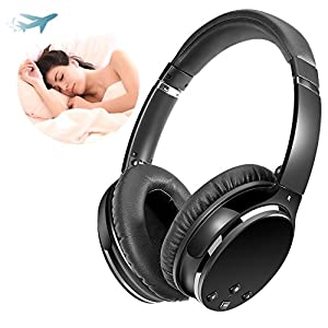 Active Noise Cancelling Headphones, Wireless Headset Foldable with Mic Over-ear Stereo ANC Earphones with Detachable Cable (black-n)
