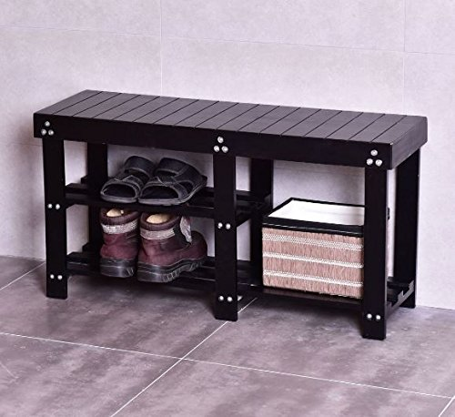 K&A Company Storage Bench Shelf Boot Organizer Shoe Wooden Entryway Rack Black Seat Hallway End Table Home Black