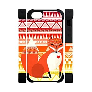 Hoomin Colorful Retro Aztec Tribal Fox Pattern iPhone 5 Cell Phone Cases Cover Popular Gifts(Dual protective)