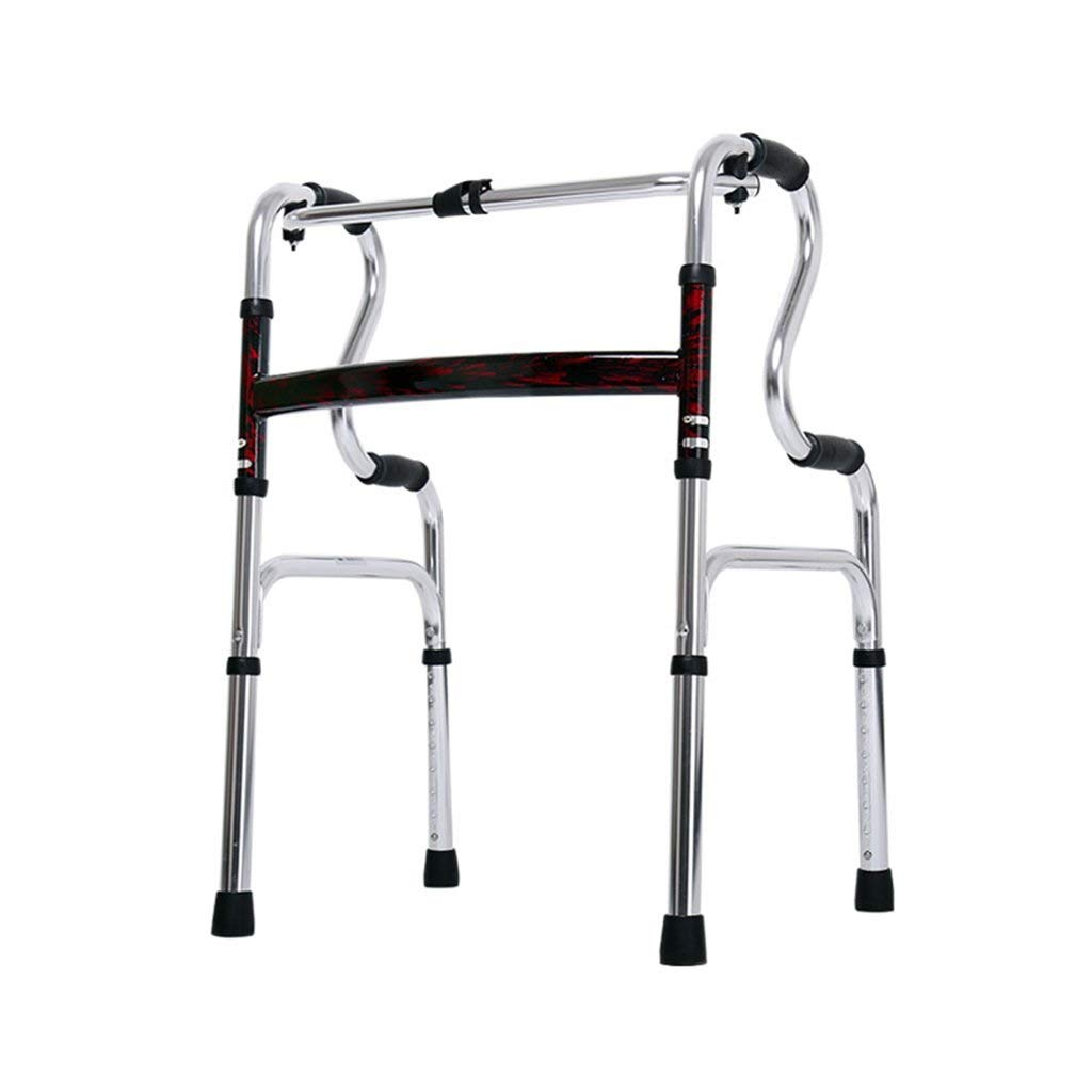 Folding Walker Adjustable Height Walking Frame Four Legs Cane Standing Toilet Frame Elderly Disabled Lower Limb Trainer Standard Walker Auxiliary Walking Safety Walker