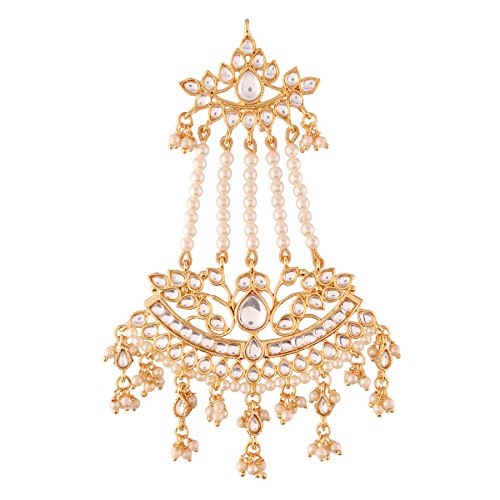 I Jewels Pearl Head Piece/Head Bands/Head Chain/Mathapatti/ Maang Tikka for Women from I Jewels