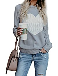Womens Casual Cable Knitted Crewneck Heart Love Oversized Pullover Sweater