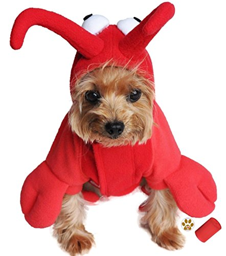 "Dog's Plush Red Lobster Costume Suit with baggies, and pin accessory in Dog Sizes XS thru 2XL (Large – Chest 19-21"", Neck 16-19"", Red Plush)"