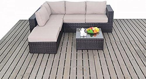 Moderno Pequeño jardín de mimbre extremo abierto rinconera, 2 y 3 asientos sofá de jardín con mesa de café reposapiés, gruesa cojines de asiento, conjuntos de muebles de jardín: Amazon.es: Hogar
