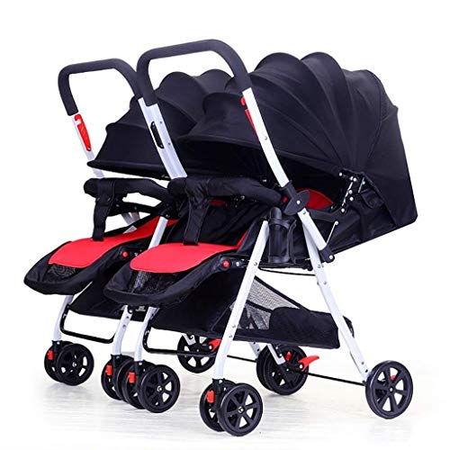 XZHSA Double Stroller Tandem Foldable Stroller 2 Canopy Pram for Babies Newborn – 3 Years Old (Color : Black)