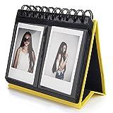 [Fujifilm Instax Mini Photo Album] Woodmin 72 Pockets Desk Calendar Album for Fuji Instant Mini 70 7s 8 25 50s 90, Polaroid Z2300, Polaroid PIC-300P Film(Yellow)