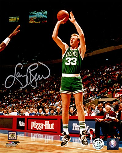 Larry Bird Signed Boston Celtics Green Jersey Jump Shot 8x10 Photo
