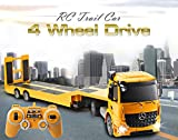 DOUBLE  E RC Tow Truck Licensed Mercedes-Benz Acros Detachable Flatbed Semi-Trailer Engineering Tractor Remote Control Trailer Truck Electronics Hobby Toy with Sound and Lights ¡