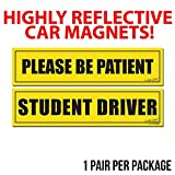 Wall26 Reflective Please be Patient and Student Driver Magnet (2-Pack) Safety Caution for Vehicle