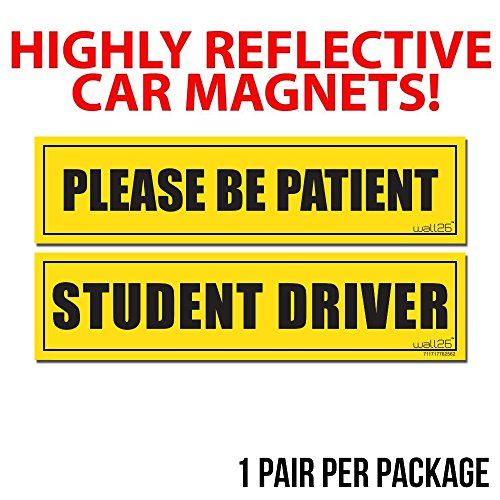 wall26 reflective please be patient and student driver car magnet 2 pack safety caution for. Black Bedroom Furniture Sets. Home Design Ideas