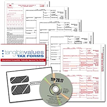 Tangible Values 1099 Misc Laser Forms (4-Part) Kit with Envelopes PLUS TFP SOFTWARE for 25 Individuals/Suppliers (2017)