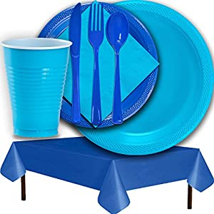 Plastic Party Supplies for 50 Guests - Aqua and Dark Blue - Dinner Plates, Dessert Plates, Cups, Lunch Napkins, Cutlery, and Tablecloths - Premium Quality Tableware Set