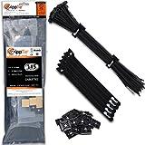 "zip ties kit - Cable Ties by ZippTie   115 pc Cable Management Kit Heavy Duty 12"" UV Black 75lb (Zip Tie)   Includes 10 Adhesive Base Mounts and 5 Reusable ZippCro Tie Wraps"