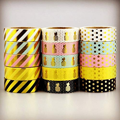 DiLi - Store - Washi Tapes - Set - 10m Foil Washi Tape Pineapple Stripe Dot Set Japanese Stationery Kawaii Stickers Scrapbooking Tools Masking Tape DIY Photo ()