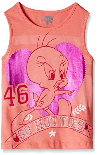Tweety Girls' T-Shirt (TW0EGT235_Salmon Rose_13 - 14 years)