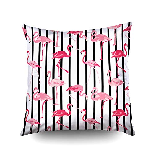 ROOLAYS Decorative Throw Square Pillow Case Cover 20X20Inch,Cotton Cushion Covers Halloween Flamingo Bird Background Retro Pattern in Both Sides Printing Invisible Zipper Home Sofa Decor Pillowcase -