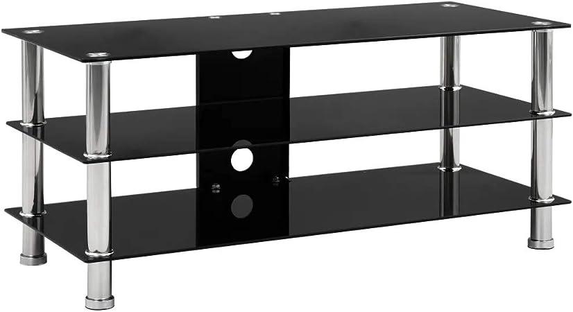 SOULONG Mueble TV LED Mesa para Televisión, Mueble para el televisor de Vidrio Templado 90x40x40 cm: Amazon.es: Hogar