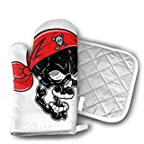 Cheap Black Pirates Skeletons Shaped Oven Mitts and Pot Holders Set of 2 for Kitchen Set with Cotton Non-Slip Grip, Heat Resistant, Oven Gloves for BBQ Cooking Baking, Grilling, Machine Washable