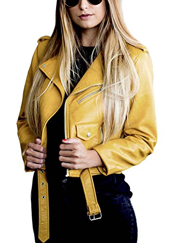Womens Leather Biker Jacket Black Fitted Bikers Style Vintage Rock Yellow