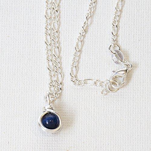 Handmade Navy Blue Bead Necklace - Wirewrapped Jewelry - 16