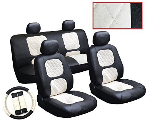 13 Piece Luxury Diamond Stitch Pattern Leatherette Chevrolet Black And White Seat Cover Set   2 Front Seats  Rear Bench  Steering Wheel Cover  Seat Belt Pads