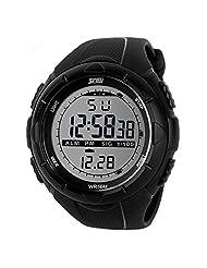 Willtoo(TM) Cool Men Sport Waterproof Glow Dark LED Digital Wrist Watch (black)
