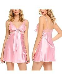 Avidlove Women Lingerie V Neck Nightgown Lace Full Slip Satin Sleepwear