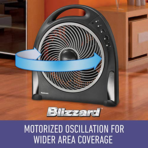 Holmes 12-Inch Fan | Blizzard Rotating Fan with Remote Control, Black