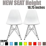 2xhome - Set of Two (2) White - Eames Style Side Chair Chromed Wire Legs Eiffel Legs Dining Room Chair - Lounge Chair No Arm Arms Armless Less Chairs Seats Wooden Wood Leg Wire Leg Dowel Leg