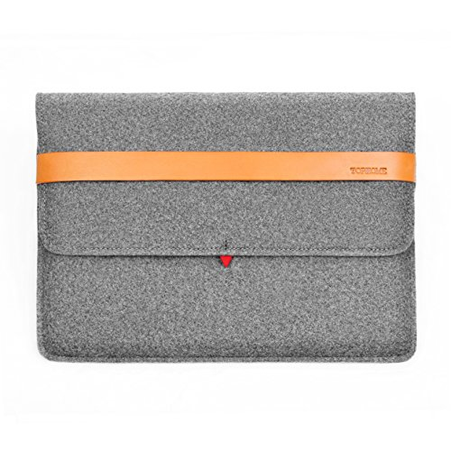 TOPHOME 13-13.3 Inch Genuine Leather Lock Felt Sleeve Case Cover Carrying Protective Bag with Pocket and Pouch Compatible for MacBook/MacBook Air 13/MacBook pro 13 Retina 2015-2017,Gray
