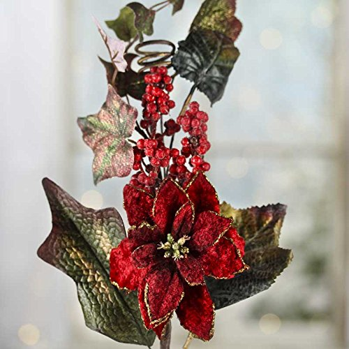 Factory Direct Craft Group of Gold Glitter Trimmed Velvet Poinsettia and Iced Berry Sprays - 4 Sprays