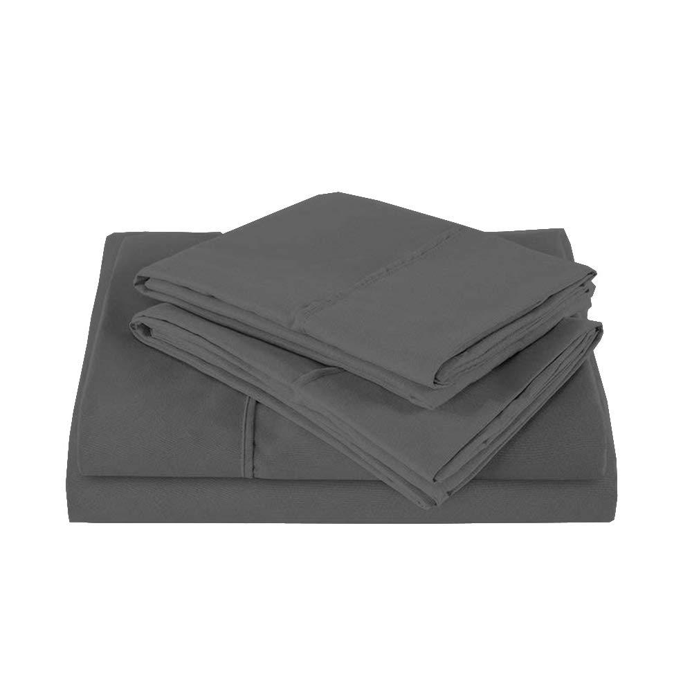 RV Mattress Short Queen Sheet Set - (60x75) 400 Thread Count Egyptian Cotton -Made Specifically for RV, Camper & Motorhomes (Short Queen) (Dark Grey Solid)