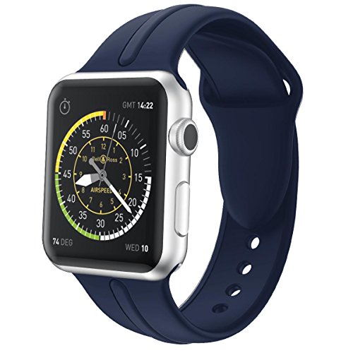 Sk Series (Wandele 42mm Soft Silicone Sport Replacement Smart Watch Band Strap With Adapter for Apple iwatch Series 1 & 2 & 3 (sk midnight blue 42))