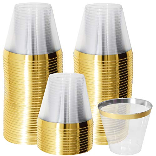 9 Oz Gold Plastic Cups, 100 Disposable Clear Plastic Party Glasses Tumblers with Rim For Wedding Parties, Cocktails, Punch, Champagne, Fancy Elegant Decorative Gold Rimmed Wine Cups by Gift Boutique