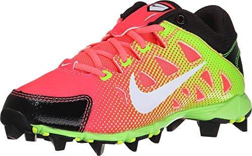 (NIKE New Girls Hyperdiamond Keystone GS Softball Cleats Pink/Black/Green Sz 11c)