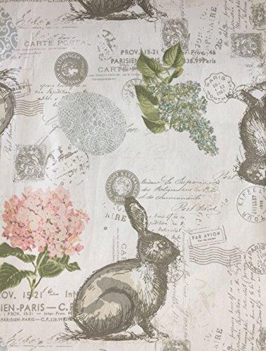 Envogue Fabric Set of 4 Napkins Bunny Rabbit Easter Postmarks Passport Postage Stamps Paris France Script Ivory White Background ()
