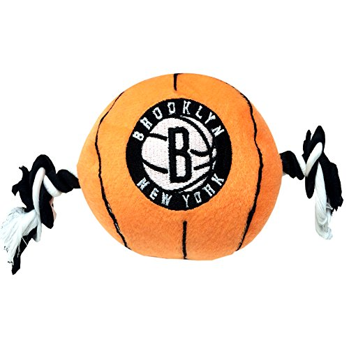 NBA Brooklyn NETS Plush Basketball Pet Rope Squeak Toy