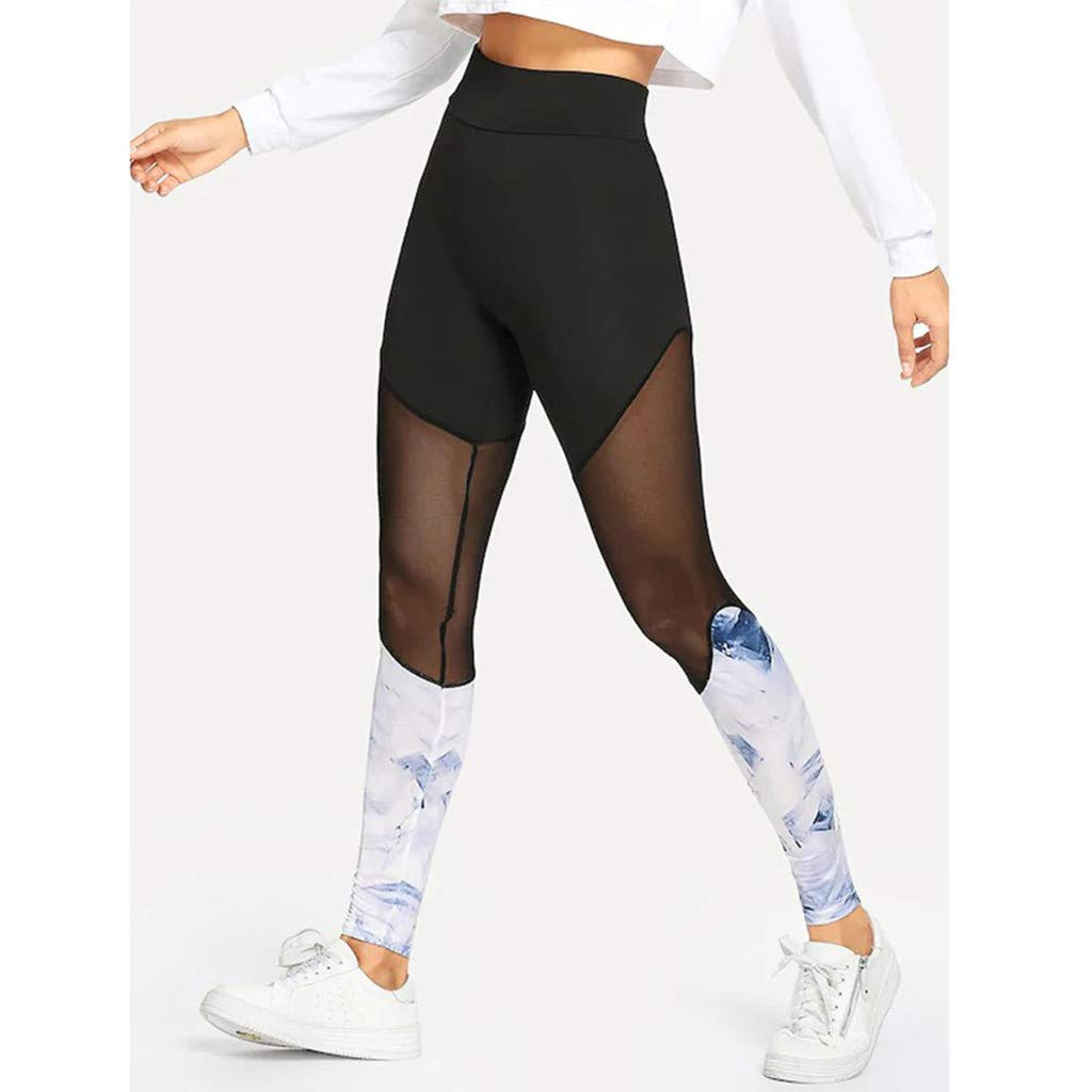 Mysky Fashion Women Popular Casual Floral Print Openwork Stitching Comfy Fitness Workout Trousers Yoga Leggings