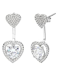 Ever Faith 925 Sterling Silver Cubic Zirconia Love Heart Front Back Stud Ear Jacket Earrings Clear N07822-1