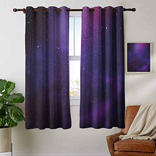(Blackout Curtains for Bedroom Sky,Galaxy Nebula Illustration Deep Space Star Clusters and Constellation Milky Way, Purple Pink Black,Darkening Grommet Window Curtain 1 Pair 42