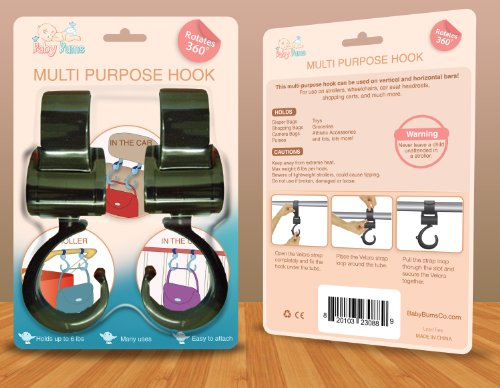 Stroller Hooks - A Great Hanger For Diaper Bags, Purses, Shopping Bags - More Stable Than Clips - Easy For Mommy To Use- Lifetime Hassle-Free Replacement Guarantee! by Baby Bums