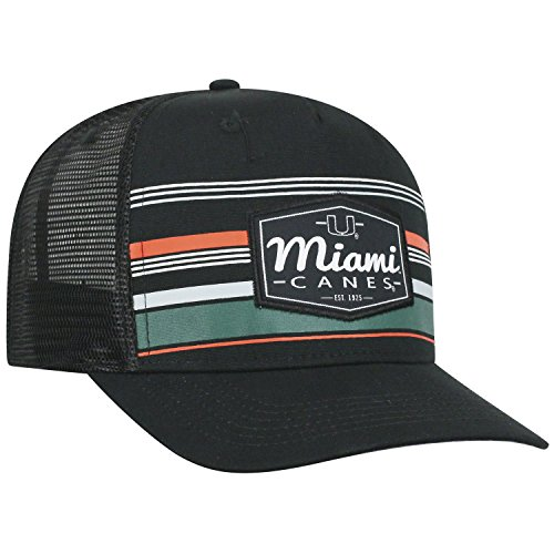 big sale 20db4 43778 Top of the World Miami Hurricanes Official NCAA Adjustable Route Mesh  Trucker Hat Cap Curved Bill