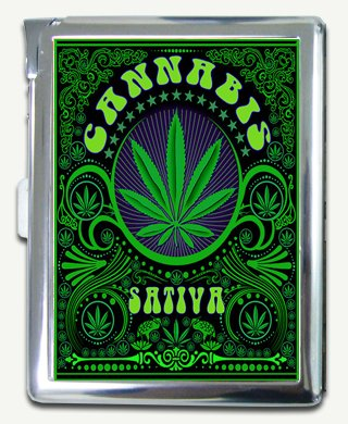 Amazon.com: Marijuana Cannabis Hippie Art Cigarette Case ...