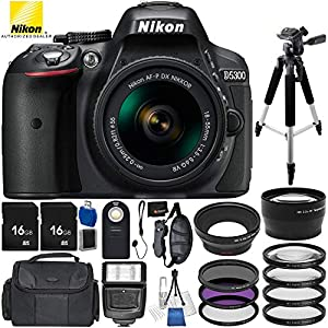 51ku0r7ZbHL. SS300  - Nikon D5300 DSLR Camera (Black) Bundle with 18-55mm f/3.5-5.6G VR AF-P DX NIKKOR Lens, Carrying Case and Accessory Kit…