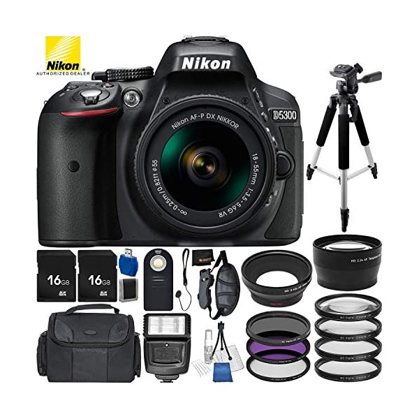 51ku0r7ZbHL. SS600  - Nikon D5300 DSLR Camera (Black) Bundle with 18-55mm f/3.5-5.6G VR AF-P DX NIKKOR Lens, Carrying Case and Accessory Kit…