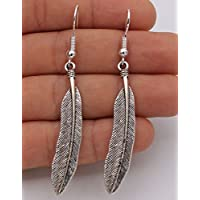 phitak shop 925 Silver Plated Hook - 2.5 Leaf Feather Retro Silver Club Lady Earrings #17